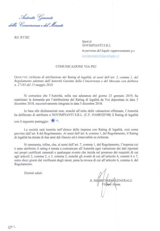 Rating Legalità RT282 del 23.01.2019