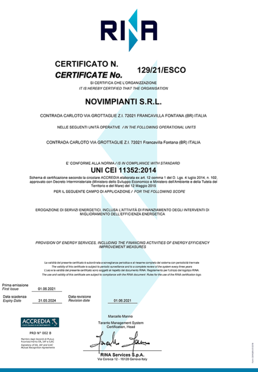 Certificazione ESCO - UNI CEI 11352:2014